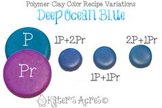 Polymer Clay Color Recipe    DEEP OCEAN BLUE I love the color blue, in fact, it's one of my favorites. Coming up with variations of blues to use in my designs is always a fun adventure. I stumbled upon this color recipe completely on accident, but have used it several times already. ...