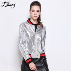 New Autumn 2016 Fashion PU Leather Jacket Female Black Striped Patchwork Full Sleeve Baseball Jacket Women Basic Coats