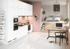 epoq trend kjøkken. Small Guest Rooms, Mini Kitchen, Cuisines Design, Small Apartments, Office Desk, Corner Desk, Sweet Home, Kitchen Cabinets, House Design