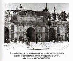 Verona 1945 - dopo il bombardamento a Porta Vescovo. My Town, Barcelona Cathedral, Taj Mahal, Louvre, Verona Italia, San, History, Travel, Climbing