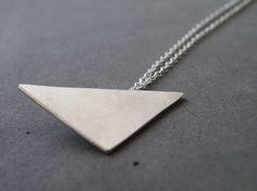 Silver Triangle Necklace Modern Geometric Necklace Minimalist Sterling Silver Jewelry by SteamyLab