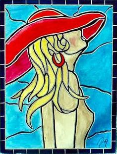 Stained glass lady with hat