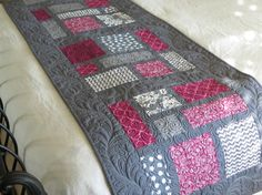 Plum and Gray Quilted Bed Runner by SewYouLikeIt