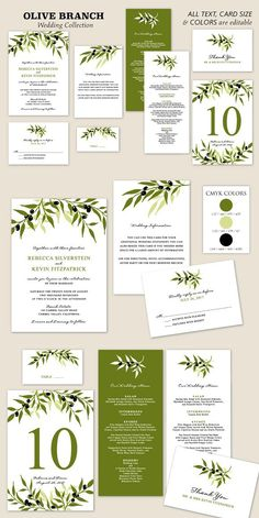 Olive Branch Wedding Collection. Invitation Templates. $20.00