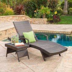 Add some stylish comfort to your patio decor with this wicker lounge set. The Christopher Knight Home Toscana two piece set includes one chaise lounge and one table that are both constructed out of weather resistant material for long term use.