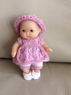 """Hand knitted dolls clothes to fit 5"""" Berenguer Itty Bitty baby doll/Cupcake doll"""