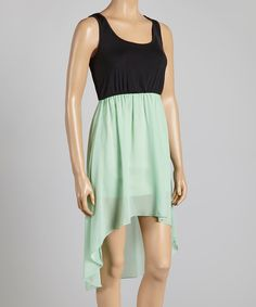 This MOA Collection Mint & Black Hi-Low Dress by MOA Collection is perfect! #zulilyfinds