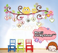 Find More Wall Stickers Information about Owl Decal Kids Room Cartoon Decals Wall Frame Sticker Removable Tree Wall Decals For Nursery Living Room Home Decoration Vinyl,High Quality decal outlet,China decal designer Suppliers, Cheap decal stickers car from Fashion boutiques trade store on Aliexpress.com