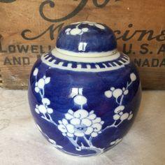Chinese Blue and White Prunus Ginger Jar / Kangxi Double Circle Hallmark by SunshineVintageGoods on Etsy