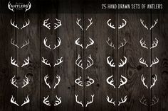 Here you have a collection of 25 hand drawn antlers for you to use as you please in any piece of artwork. Teamed with hand written text they make for a unique, rustic, vintage logo. A little