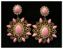 Early KJL Kenneth Lane Coral Cabochon & Gilt Lace Drop Earrings