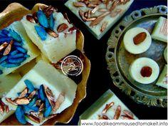 Burfee Recipe - Food like Amma used to make it - (CK- daai groen fudge-like goed wat ons in Durban gekoop het met pistachio in) Thai Recipes, Curry Recipes, Indian Food Recipes, Cooking Recipes, Diwali Recipes, Indian Foods, Indian Desserts, Indian Sweets, Diwali Food