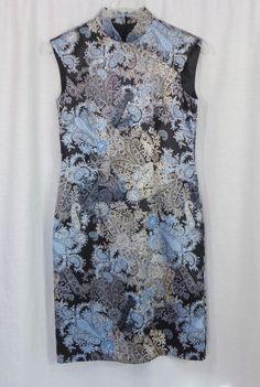 Womens DRESSBARN Black/Blue/Silver Sleeveless Oriental Shiny Sheath Dress, SZ 6 #dressbarn #Sheath #Cocktail