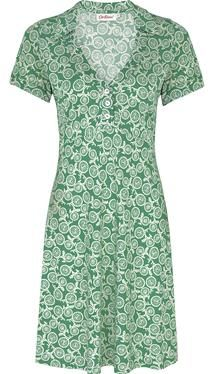 This cheerful dress is a casualwear essential. The soft jersey fabric will give a lovely, flattering drape, and the quirky bicycle print is truly British. Finished with a collar and mother of pearl button front placket.