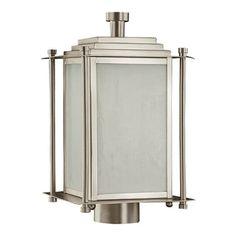 Quorum Shoreham  Outdoor Post Lantern in Satin Nickel