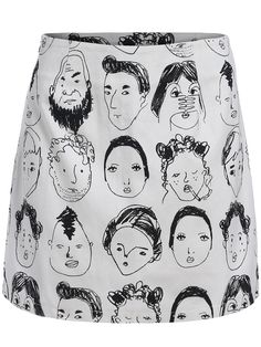 Black White Portrait Print Bodycon Skirt