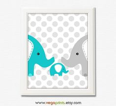 Turquoise and grey elephant art print -8x10 UNFRAMED - nursery wall art, baby boy artwork, polka dots background, aqua, teal, gray on Etsy, $13.50