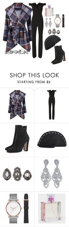 """""""PLAID COAT & VELVET JUMPSUIT"""" by mchangwe on Polyvore featuring L'Agence, Lucky Brand, Charlotte Russe, DKNY and Paul Smith"""
