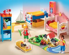 Playmobil Doll House - Boy and Girl Room and thousands more of the very best toys at Fat Brain Toys. The perfect children's bedroom. Comes with two beds, storage unit, shelves for wall, two pet guinea pigs, and this doll house. Play Mobile, Toys R Us, Kids Toys, Dolls House Figures, Playmobil Toys, Wooden Alphabet, Fisher Price Toys, Popular Toys, Babies R Us