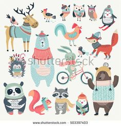 Illustration about Christmas set with cute animals, hand drawn style. Illustration of christmas, deer, forest - 79930397 Illustration Noel, Cute Animal Illustration, Cute Animal Drawings, Christmas Illustration, Christmas Tree Art, Christmas Animals, Vector Christmas, Paper Toy, Scandinavian Folk Art