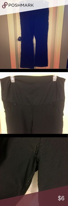 """🎀 Maternity Slacks with Full Panel 🎀 Full panel black sailor style maternity slacks. No rear pockets, button details on front faux pockets. Inner thigh area had some elastic breakdown (pictured) as my thighs will never have a gap ;) Very stretchy and comfortable pants for your growing belly (and if you're like me-legs!). Size Large.  🎀 Will gladly gift when bundled with a non """"🎀"""" purchase just because they are not in excellent condition! Pants Trousers"""
