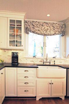"Farm house sink (Cultivate.com) Great option to ""café curtains"""