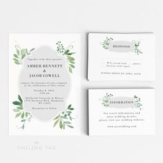 Wedding Invitation Printable Set - Watercolor Botanical Garden Wedding- Ready to Print PDF - rsvp card - Letter or A4 Size (Item code: P701) by PaperTen on Etsy https://www.etsy.com/listing/234203354/wedding-invitation-printable-set