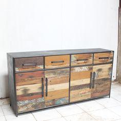 commode 9 tiroirs num rot e plateau bois de bateau montants en fer poli et trait chaque pi ce. Black Bedroom Furniture Sets. Home Design Ideas