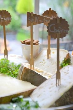 bamboo forks with flags for cheese markers