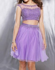 2016 Sparkly Lilac Black Navy 2 Pieces Short Juniors Homecoming Dresses Sleeveless Beaded Tulle A-line Sexy Prom Cocktail Gowns