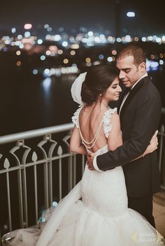"""✨We're swooning over this glittering first look at Bride Sarah's dazzling wedding at the Four Seasons Nile Plaza in Egypt, and her customized Lauren Elaine """"Oriana"""" mermaid wedding gown!!"""
