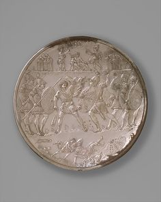 Plate with the Battle of David and Goliath Date: Geography: Made in, Constantinople Culture: Byzantine Medium: Silver. The Metropolitan Museum, New York. Old Coins, Rare Coins, Ancient Art, Ancient History, Museum Studies, David And Goliath, Byzantine Art, Medieval Art, Roman Empire