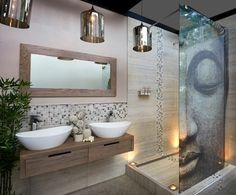 salle de bain zen bambou, miroir design mural, salle de bain mur en beige