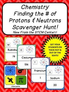 ChemistrySCAVENGER HUNT! - Are you looking for a way for your students to get out of their seats, have fun, and learn at the same time? The Chemistry Scavenger Hunt Game Features Periods 1 and 2 on the Periodic Table and gets students up and moving around while practicing how to find the number of Neutrons in an element.