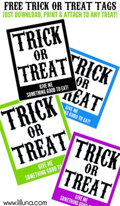 FREE and CUTE Trick or Treat Tags!