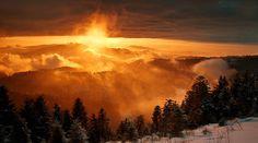 Nordschwarzwald Schliffkopf Schnee Sonnenuntergang Winter