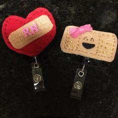 Nursing ID Badge Clip Retractable handmade felt id clips Accessories Key & Card Holders