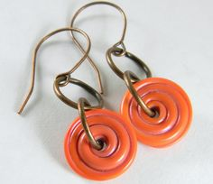 CORAL PIXIE SPINNERS lampwork spiral dangle by gmdlampwork on Etsy, $18.00