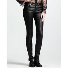 $2,890, Black Leather Skinny Pants: Saint Laurent Skinny Leather Pants. Sold by Neiman Marcus.