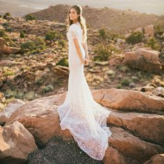 modest wedding dress with half sleeves and a slim skirt from alta moda. -- (modest bridal gown) --