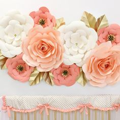 coral peach cream and gold large paper wall flower set for backdrop or nursery design