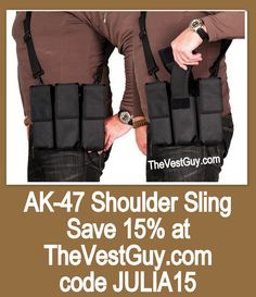 AK-47 Shoulder Sling Pouch from TheVestGuy.com Available in a several colors and in 3 or 4 magazine configurations. Made in the USA, backed by a lifetime warranty.