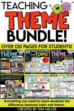 This huge bundle of theme activities, printables, and worksheets comes with over 120 pages for students! At 20% off, this bundle includes everything you need to teach students the difference between topic and theme. Tons of practice pages are included that guide students through the process of finding the topic and theme of literary texts.