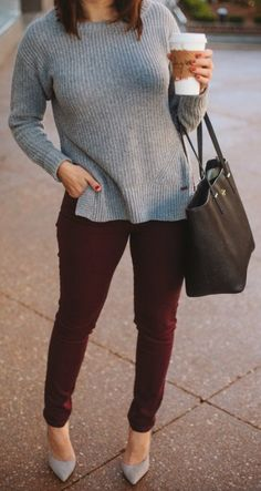 fall outfit ideas, grey and burgundy outfit ideas via My Style Vita Source by mystylevita ideas for women Gray Shirt Outfit, Burgundy Pants Outfit, Colored Jeans Outfits, Colored Pants, Casual Work Outfits, Business Casual Outfits, Cute Outfits, Diy Outfits, Fashion Outfits