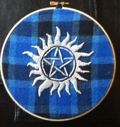 Carry On My Wayward Son - Supernatural Embroidery - NEEDLEWORK. It's even done on plaid lol.