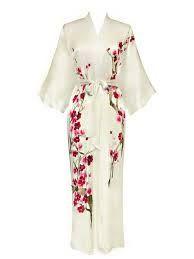Old Shanghai Women's Silk Kimono Long Robe - Handpainted, Cherry Blossom Black Silk Robe Long, Silk Kimono Robe, White Kimono, Long Kimono, White Silk, Kimono Dressing Gown, Sleepwear Women, Loungewear, Kimono Fashion