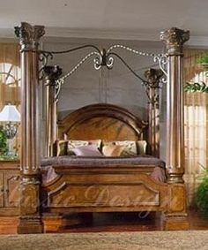 Margaret King Poster Canopy Bed 5 Piece Bedroom Set Antique White ...