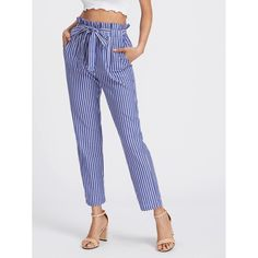 Shop Self Tie Frill Waist Pinstripe Pants online. SHEIN offers Self Tie Frill Waist Pinstripe Pants & more to fit your fashionable needs.DIDK Self Tie Frill Waist Blue Pinstripe Pants Women Elastic Waist Carrot Casual Trousers Autumn High Waist Pants Outfits For Teens, Cute Outfits, Pinstripe Pants, Blue Trousers, Blue Pants, Striped Pants, Pantalon Large, Type Of Pants, Skirt Pants
