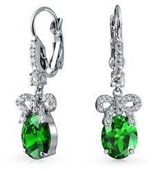 Bling Jewelry Bow Ribbon Simulated Emerald Cz Drop Earrings Rhodium Plated Brass.