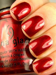 China Glaze Thunderbird. Super glowy metallic red.